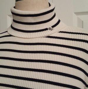 Lauren Ralph Lauren Striped TurtleNeck Sweater LG